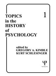 Topics in the History of Psychology, Vol. 1 1st Edition,0898593115,9780898593112